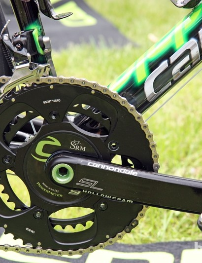 Peter Sagan (Liquigas-Cannondale) is using a Cannondale Hollowgram Si SL crankset fitted with previous-generation SRAM Red chainrings. There's a previous-generation SRAM Red front derailleur, too, but that's matched with the clever chain keeper borrowed from the new Red group
