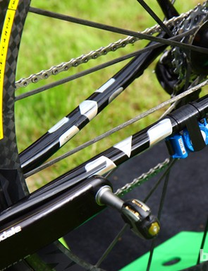 Metallic 'Evo' logos are added to the flattened chain stays on Peter Sagan's (Liquigas-Cannondale) Cannondale SuperSix Evo Hi-Mod