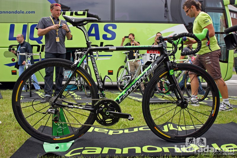 Cannondale provided Slovakian superstar Peter Sagan (Liquigas-Cannondale) with this specially painted SuperSix Evo Hi-Mod after winning Stage 1