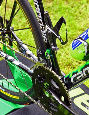 Metallic silver and electric green logos decorate Peter Sagan's (Liquigas-Cannondale) special Cannondale SuperSix Evo Hi-Mod at the start of Stage 2