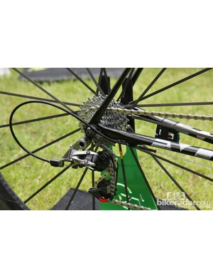 The rear end of Peter Sagan's (Liquigas-Cannondale) Cannondale SuperSix Evo Hi-Mod features a new SRAM Red rear derailleur, a SRAM PG-1070 cassette, and Gore Ride-On Professional System sealed cables