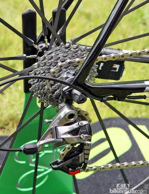 The sandwich-type replaceable rear derailleur hanger on Peter Sagan's (Liquigas-Cannondale) bike is supposedly stiffer than one that attached to only one side. Little rubber o-rings around the housing are intended to prevent paint damage