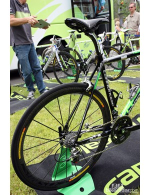 Flattened chain stays and slim seat stays are designed to provide some comfort on Peter Sagan's (Liquigas-Cannondale) special Cannondale SuperSix Evo Hi-Mod