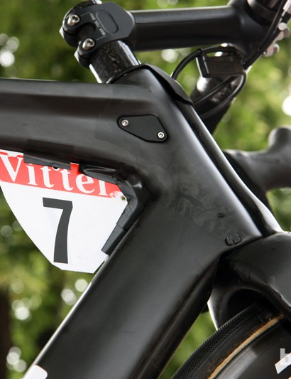 Close up of the head tube of a TMR01 with aero fitted number too