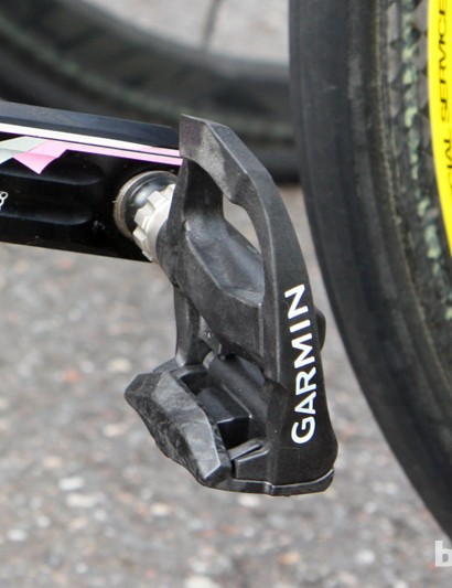 The Garmin-Sharp team's pedals are branded as 'Garmin' but they're still being used without any sign of power measuring hardware