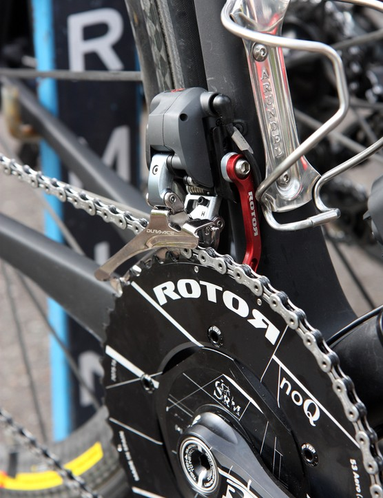 A Rotor chain keeper is attached to the Shimano Dura-Ace Di2 front derailleur