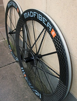 The Mad Fiber clincher wheels weigh 1,318g per pair (552g front, 766g rear)