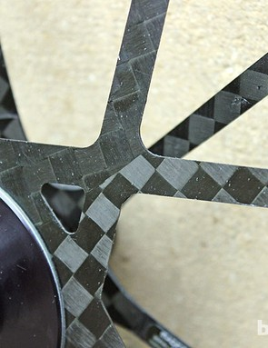 Bladed carbon spokes on the Mad Fiber clincher wheelset