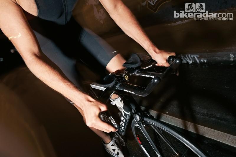 Aero bars help you create a tucked, more aerodynamic position on the bike