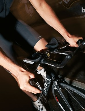 Aero bars help you create a tucked, more aerodynamic position on the bike
