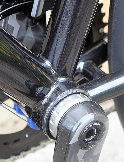 The SRAM press-fit 30 bottom bracket is said to increase stiffness for maximum power transfer