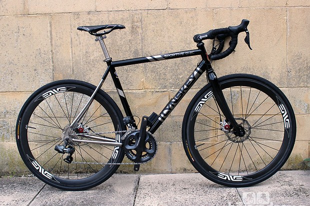 Lynskey's Sportive model features an intriguing mix of electronic gearing and mechanical disc brakes