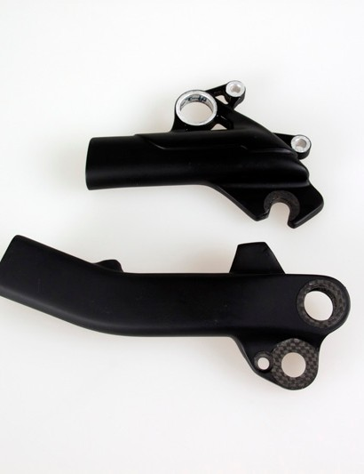 The chainstay from the 26in-wheeled Scott Genius (top) compared to the new version