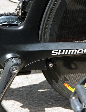 The rear brake is tucked neatly away beneath the chain stays