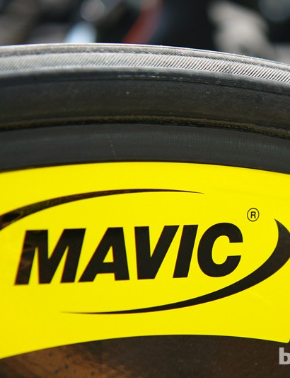 The rear Mavic disc wheel is built with an aluminum tubular rim and the company's unique Exalith sidewall treatment