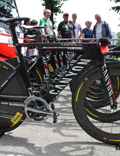 The sleek Canyon Speedmax CF Evo time trial bike of 2009 Giro d'Italia winner Denis Menchov