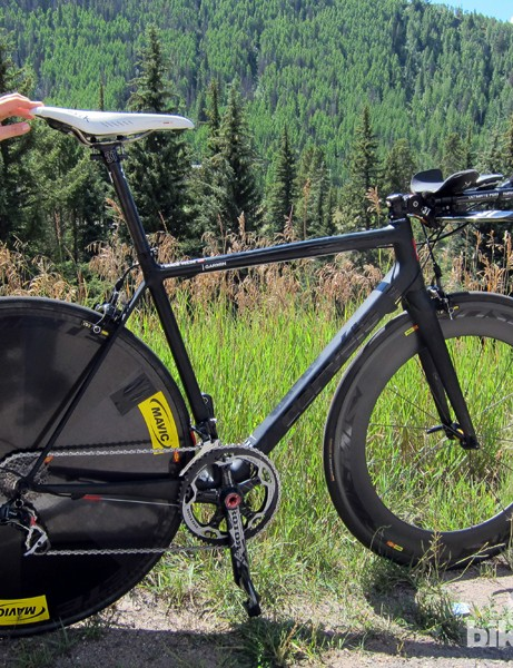Most teams and riders went with full-blown time trial setups at last year's USA Pro Cycling Challenge time trial in Vail, Colorado. Garmin-Barraduda (then known as Garmin-Cervélo), on the other hand, set up the team's key riders on modified road bikes instead based on calculations made by team sports scientist Robby Ketchell.