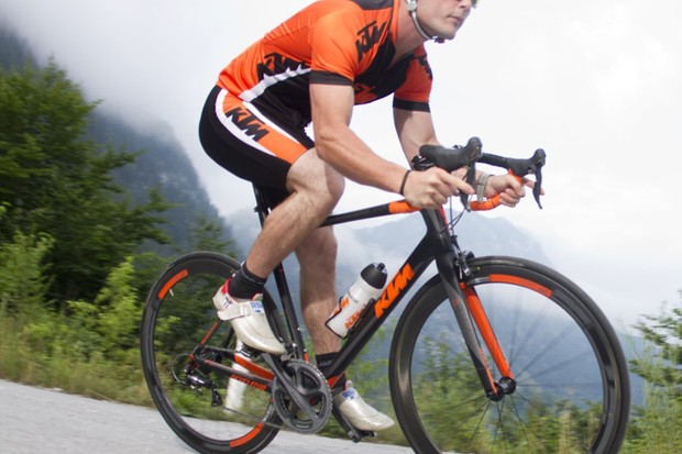 The Revelator features KTM's signature orange not only on the frame but on the DT Swiss carbon clinchers, too