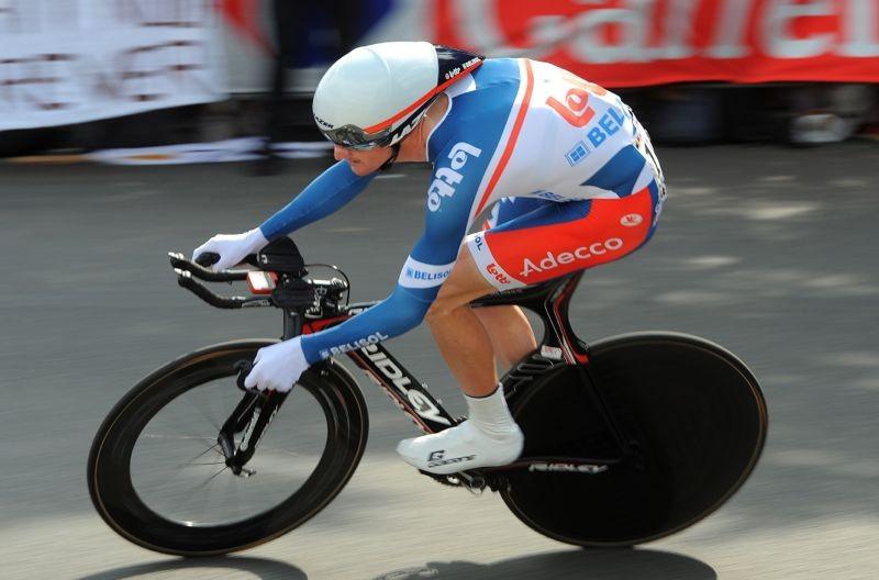 Jurden Van Den Broeck of Lotto-Belisol races the Tour de France prologue in the Lazer Wasp
