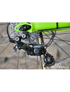 Shimano's Zee derailleur is in charge of shifting duty for the Gambler