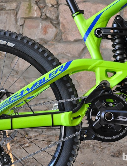 Saint cranks and a e*thirteen guide round out the drivetrain up front