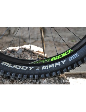 Schwalbe rubber on DT Swiss FR 600 rims are in charge of ground control for the Gambler