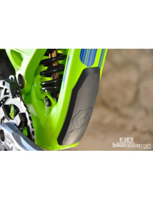 An integrated down tube guard provides a little extra insurance out on the trail