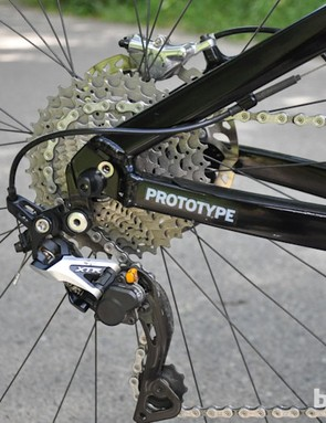 Note the internal routing option for the brake housing on the opposite chainstay, which wasn't being used for the National Championships