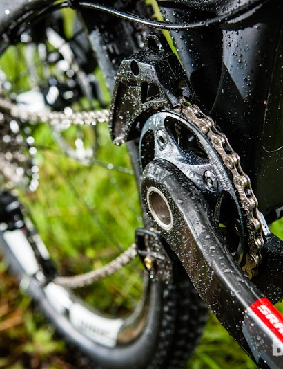 SRAM's radical new XX1 carbon chainset is a totally dedicated single-ring setup, with an added bashplate and twin guide protection for the 146 bikes