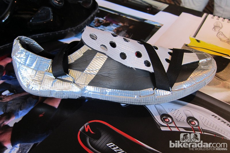 Specialized prototyped many shoes en route to the new model. This was made mostly of high-end duct tape to prove out a super lightweight shoe