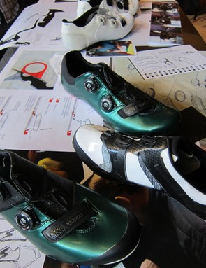 More of the many S-Works shoe prototypes. The green shoes are made from a super stretchy resistant material; they were used to prove what Specialized thought to be the best power transfer