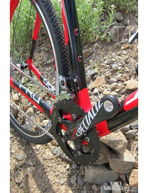 The Crux Pro comes with Specialized's S-Works OSBB crank, and all the bikes come with chain watchers