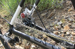 The rear of the disc bike features internal routing for both the derailleur and rear brake