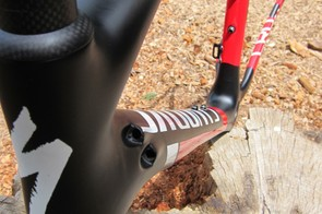 Cable routing is different between the disc and cantilever frames; the disc version routes all of the cables through the down tube