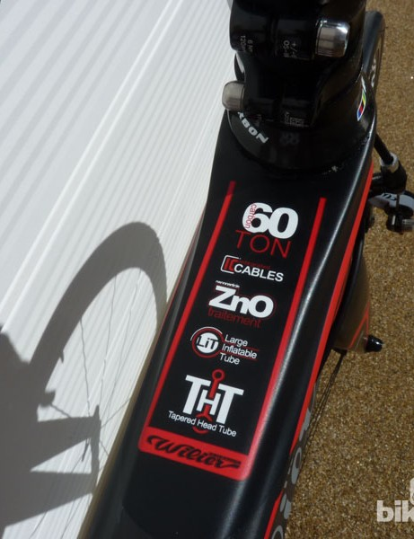Plenty of acronyms adorn the Cento 1 SR's top tube