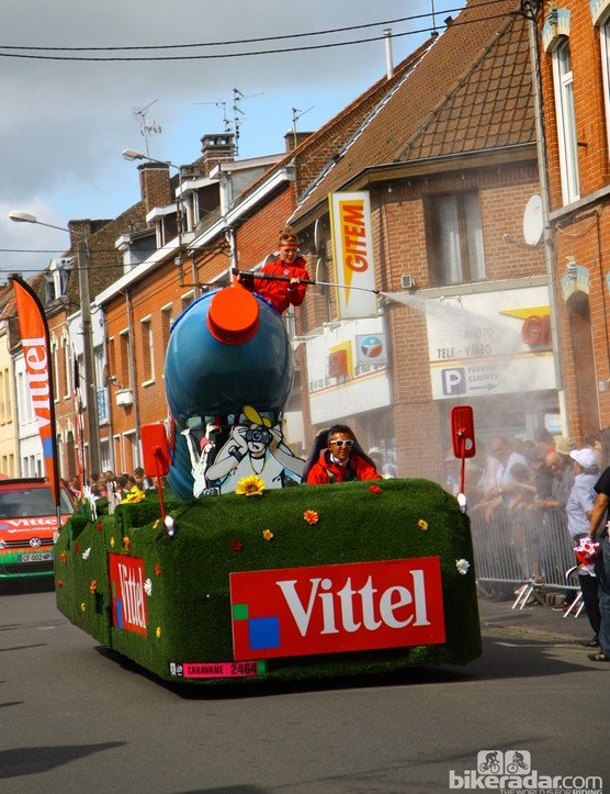 French bottled water company Vittel fielded several vehicles in the publicity caravan with giant tanks to spray down spectators with cool mist.