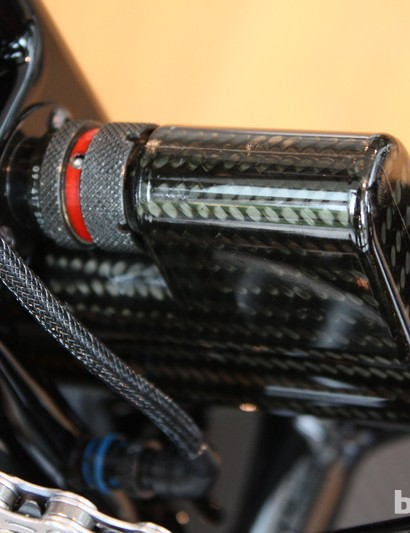 The Dura-Ace Di2 battery is kept low and central, and contained in carbon fibre of course