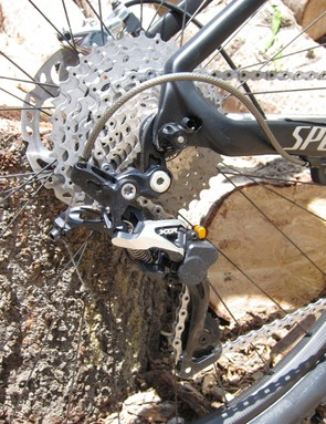 The S-Works Fate sports a Shimano XTR drivetrain with Shadow Plus rear derailleur