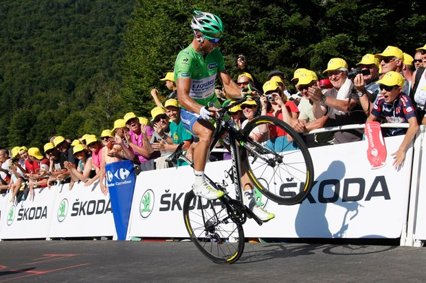 Peter Sagan (Liquigas-Cannondale) earns some style points during the finish of Stage 7 of the Tour de France - but wait, what's up with those new Sidi shoes he's wearing?
