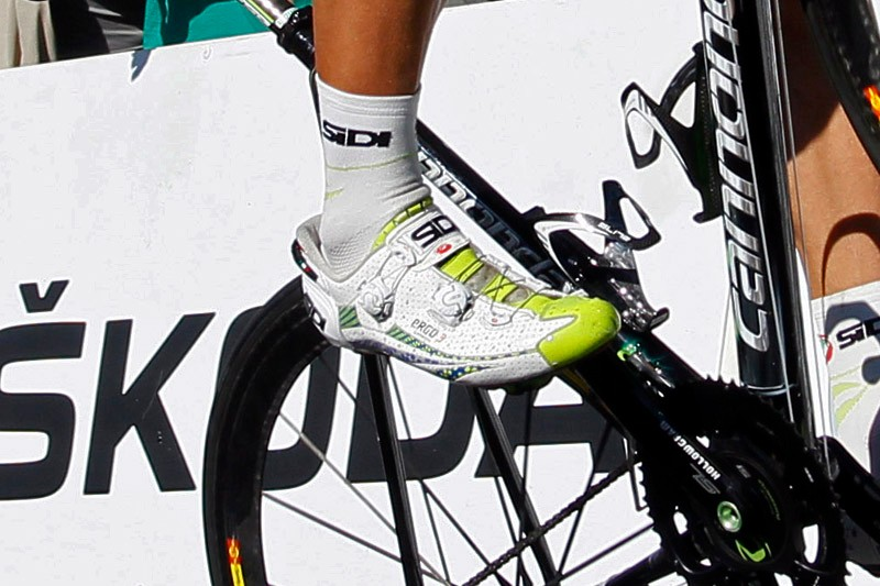 Peter Sagan's (Liquigas-Cannondale) new Sidi shoes feature an evolution of the company's Tecno 2 reel-and-cable system.