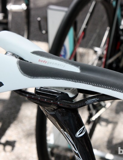 Specialized provided Tony Martin (Omega Pharma-QuickStep) with a new Romin saddle variant with built-in grip sections.