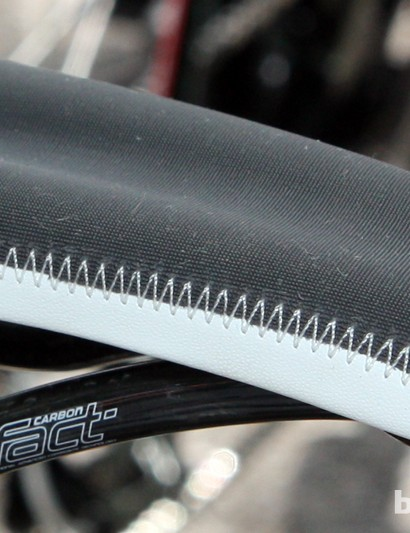 The middle and nose of Tony Martin's (Omega Pharma-QuickStep) new Specialized Romin saddle model features a rubberized texture and fine 'hairs' that offer a remarkable level of grip.