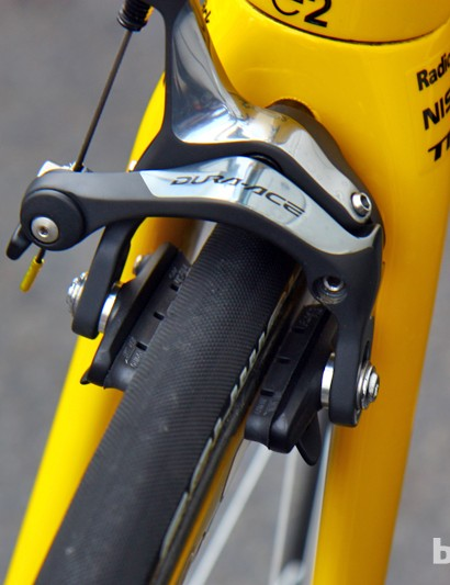 Fabian Cancellara (Radioshack-Nissan-Trek) is among several riders at the Tour de France using SwissStop's new Black Prince carbon-specific brake pads.
