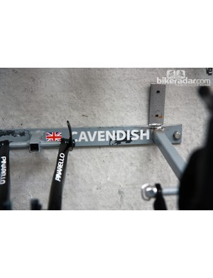 Every rider gets a specific storage area for their bikes in the Team Sky service course