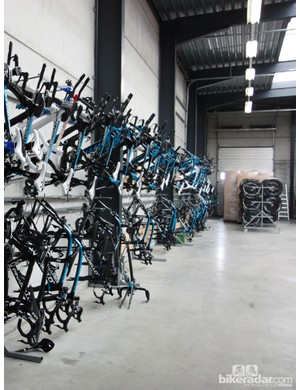 Bikes are neatly clamped to one wall of the course. A team the size of Sky can easily have three campaigns running concurrently, so a huge inventory of equipment is required