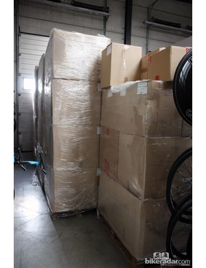 Team Sky consume tens of thousands of bottles each season. This entire stack is nothing but bottles - and this isn't even a complete year's allotment