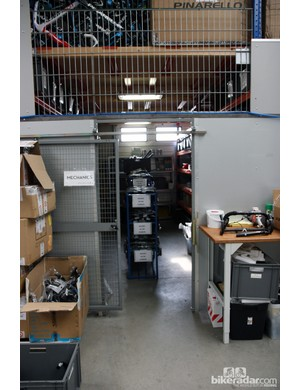 Components are kept in this caged-off area. Security is obviously a major concern