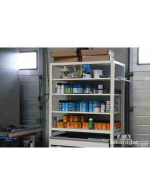 Mechanics keep greases, oils, glues and other fluids neatly stored here