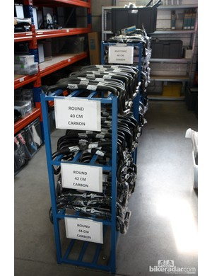 Scores of carbon handlebars are sorted by size and bend