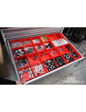 Mechanics keep parts carefully organized
